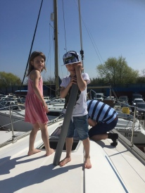 Kids causing mischief on deck