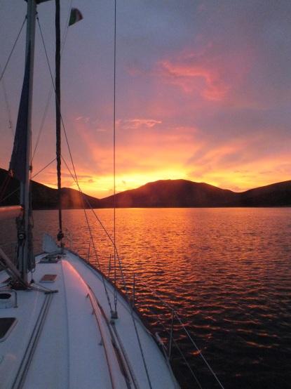 Sunset Sardinia boat